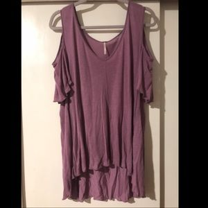 Purple Free People Cold Shoulder Top